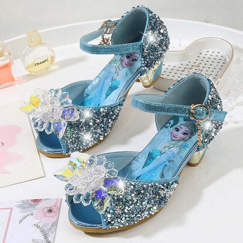 2019 Girls Childrens High-heels Kids High Heeled Princess Bridesmaid Dance Shoes