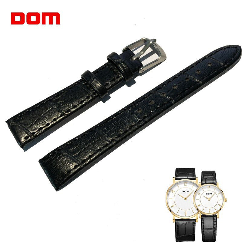 Watchband Genuine Leather High Quality Waterproof with Pin Wristwatch Strap Men Women 14mm 20mm Black Gold Watch Accessories
