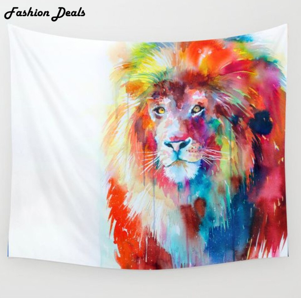 Hot! New Lion Tapestry India Mandala Elephant Wall Hanging Tapestries Beach Towel Yoga Mat Bedspread Table Cloth Home Decoration