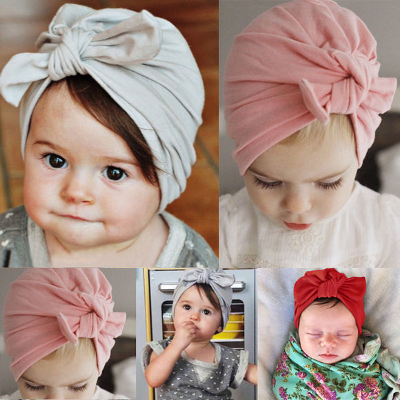 Newborn Baby Toddler Kids Boy Girl Bowknot Soft Cotton Beanie Hat Cap