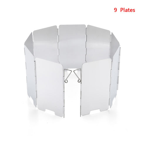 Camping Stove Windscreen Foldable Wind Removal Plate Cooking Gas Wind Shield 8 Sheet of Aluminum Extension Storage Box Included
