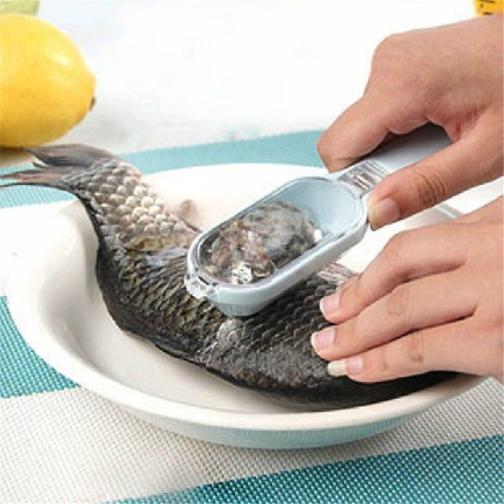 Fish Scales Skin Remover Scaler And Knife Fast Cleaning Fish Skin Steel Plastic Scraper Portable  Kitchenware Clean Peeler Tool