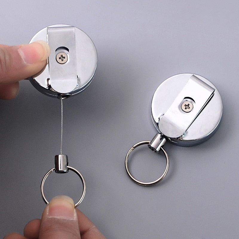 New Arrival Retractable ID Card Badge Holders Pull Metal Silver Badge Reel Holder Lanyard Name Tag Belt Key Ring Chain Clips