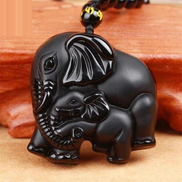 1x Black Obsidian Mother Baby Double Elephant Lucky Amulet Pendant Necklace