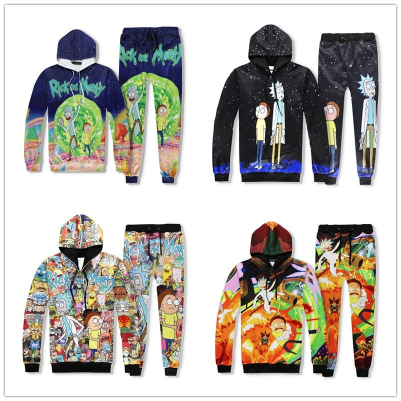 MEN 3D rick and morty Print Sports Tracksuit Jogger Tops Sweatshirt Pants Set