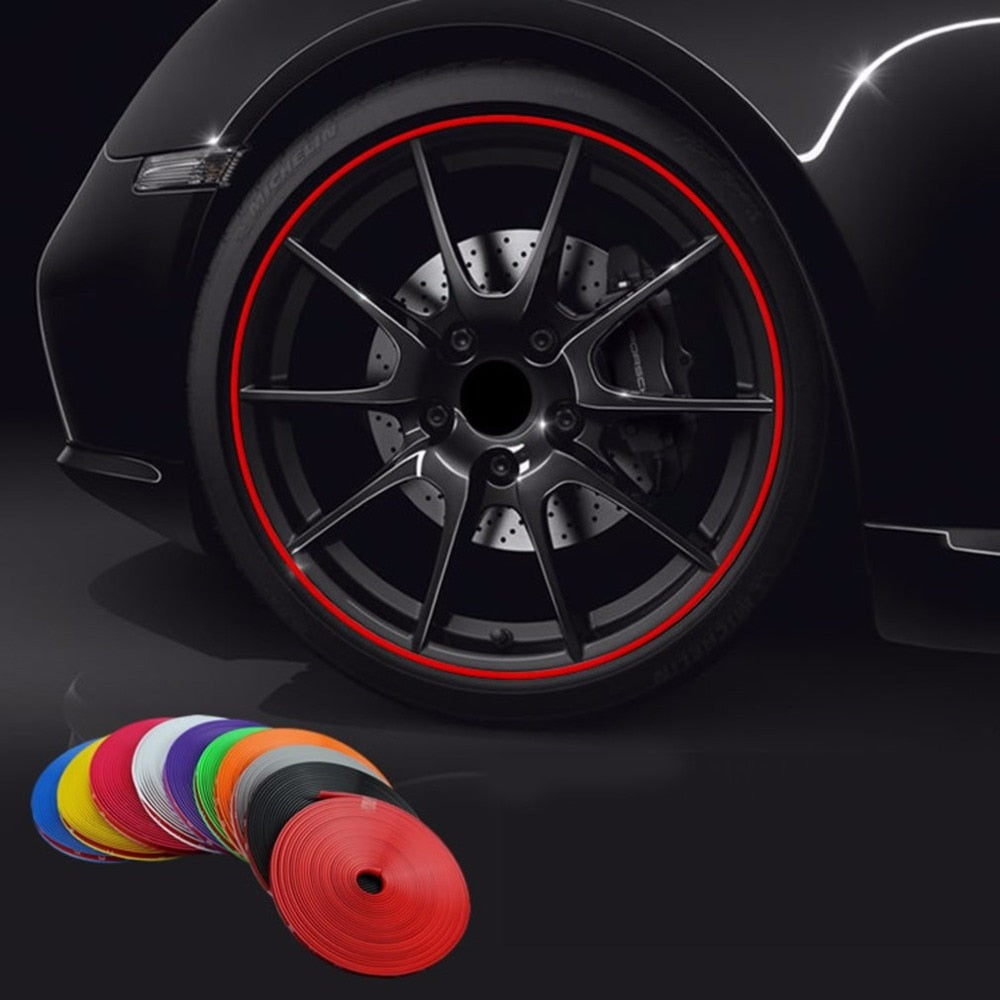 Hot8M/ Roll New Styling IPA Rimblades Car Vehicle Color Wheel Rims Protectors Decor Strip Tire Guard Line Rubber Moulding Trim
