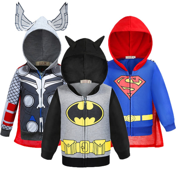 Batman Thor Superman Boys Hoodies The Avengers Captain America Iron Man Sweatshirt Coat For Boys Autumn Kids Clothes