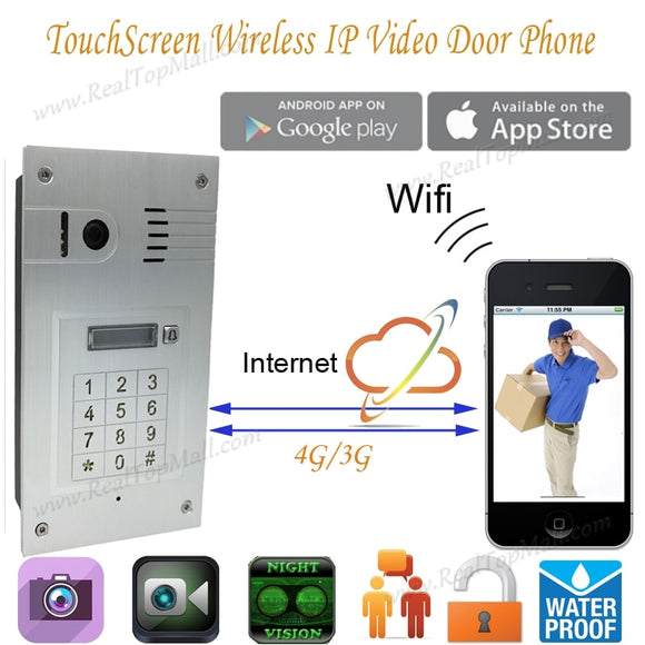 New Touchscreen Wireless Wifi Video door phone doorbell IP Camera Intercom embedded Support IOS Android Smart Phone Tablet