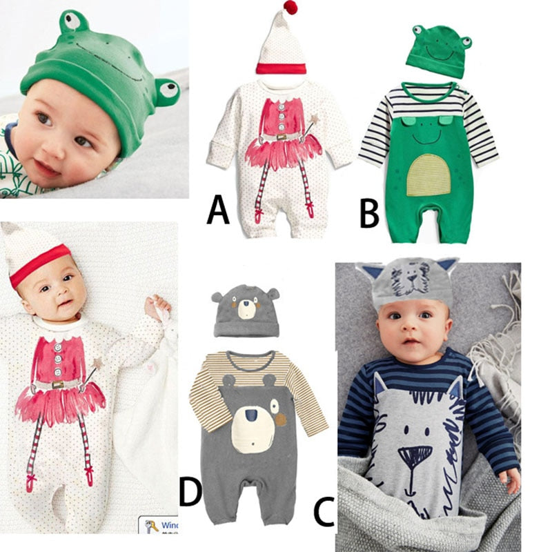 Spring autumn Baby Ropmer Cartoon Long Sleeve Print Baby Boy Girl Clothes + hat Cotton Sleepwear New Newborn jumpsuits Baby suit