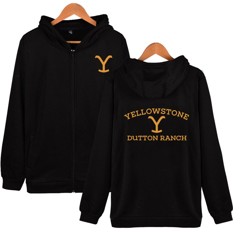 Kevin Costner Tv Series Yellowstone Zip Up Hoodie Yellowstone Dutton RANCH Zipper Hoodie Wyoming Montana Cow Boys Hoodie