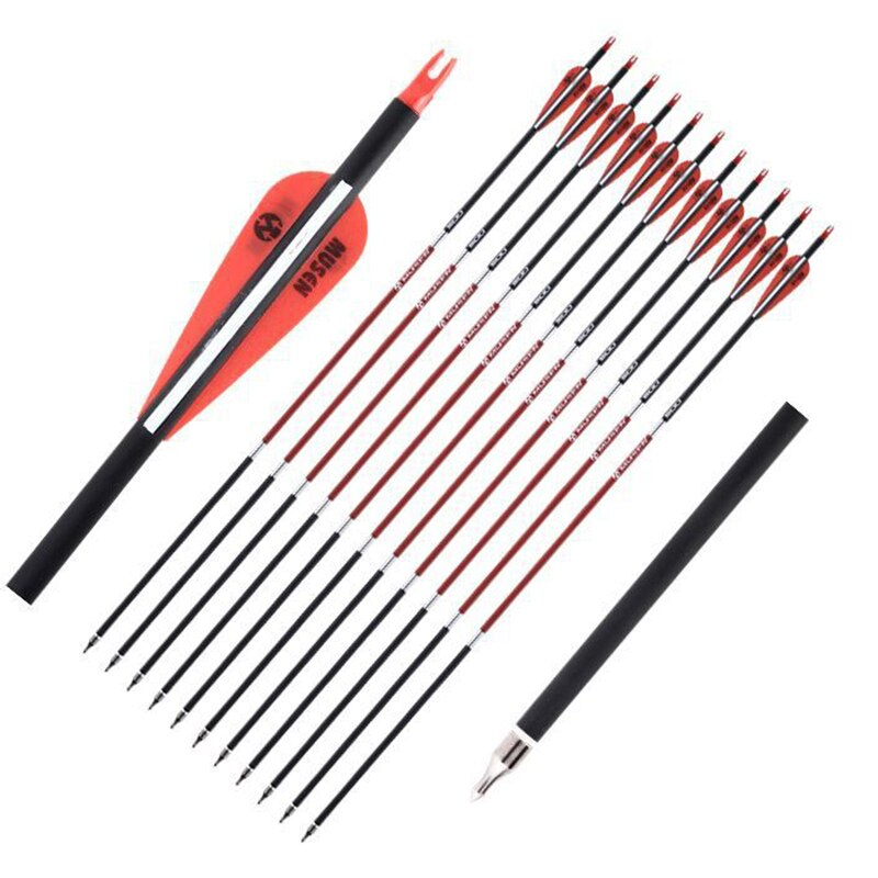 12pcs 30inch OD 7.8mm Spine 500 Carbon Archery Arrow With Replaceable Arrowhead for Hunting Shooting Compound Recurve Bow