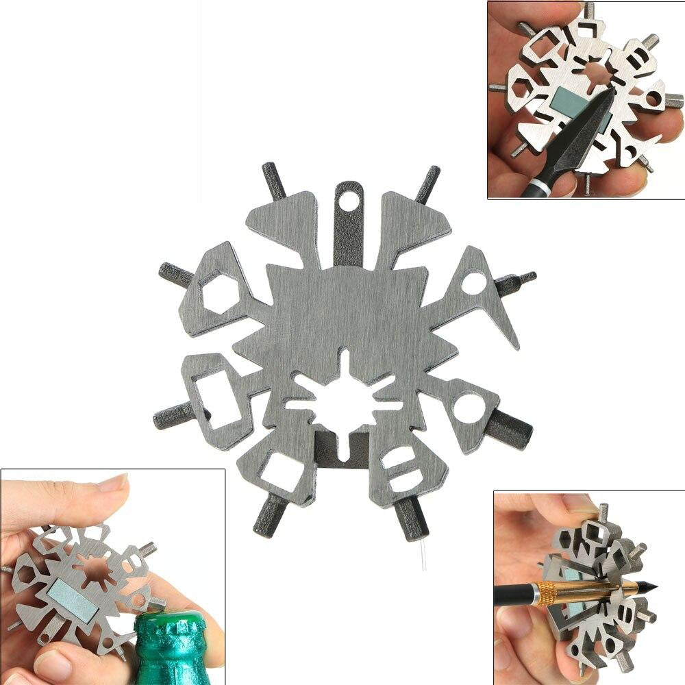 Snowflake Outdoor Survival Travel Multi-tool Stainless Steel Camping Equipment EDC Mini Tactical Tool Card archery tool
