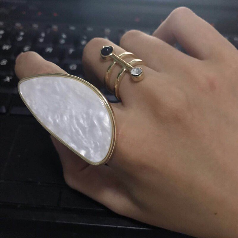Cos Store Personality Cool GEO Rings For Girls 2019 Chic Irregular Shape Resizable Finger Ring Femme Bague Jewlery