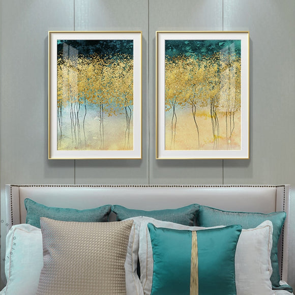 Abstract Green Trees Plant Painting Nordic Style Poster and Print Golden Wall Art Picture For Living Room Dining Room Home Decor