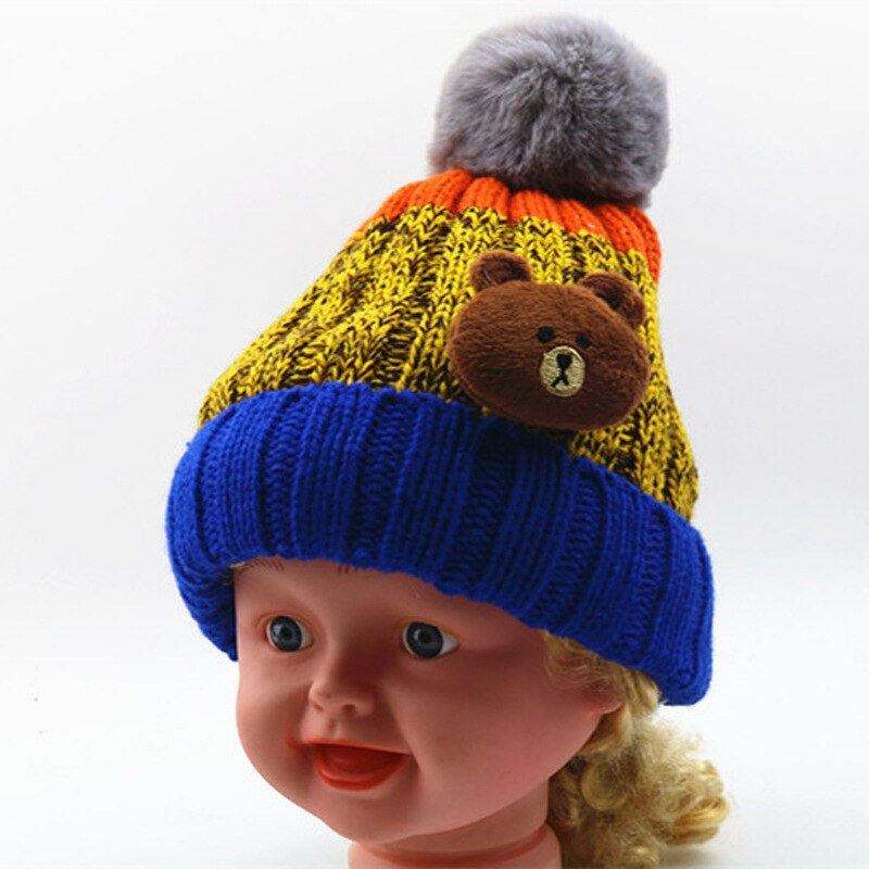 2-8 Y Trendy Winter Baby Beanie Hat Warm Cute Kids Boys Toddler Knitted Hats Girls Pink Textile Caps With Thicken Fleece Lining