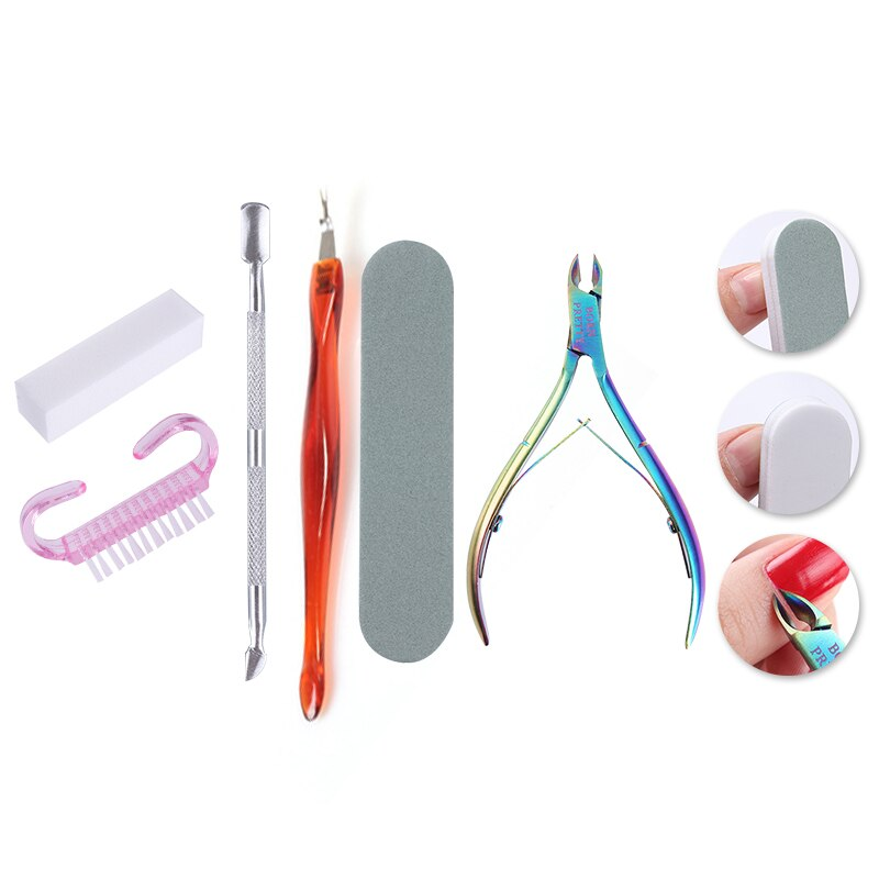 BORN PRETTY Rainbow Cuticle Nipper Nail File Buffer Dead Skin Pusher Remover Set Sanding Block Grinding 6 Pcs  Tool Kit