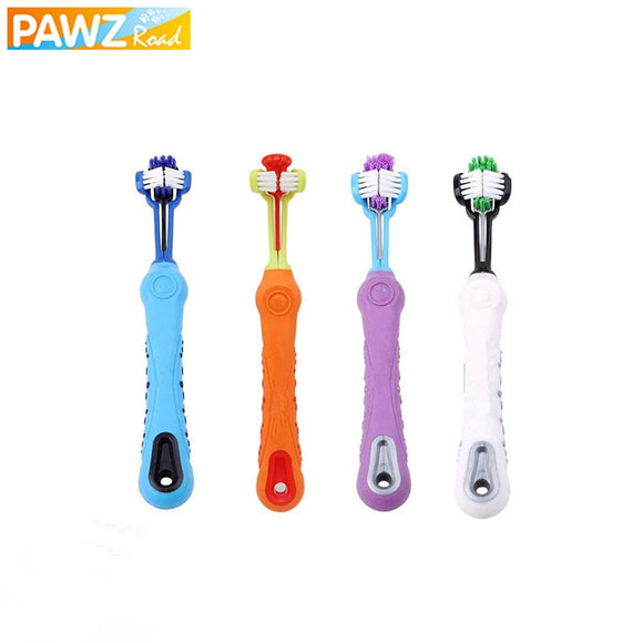 Three Sided Pet Toothbrush Dog Brush Addition Bad Breath Tartar Teeth Care Dog Cat Cleaning Mouth Grooming Supply Drop Shipping