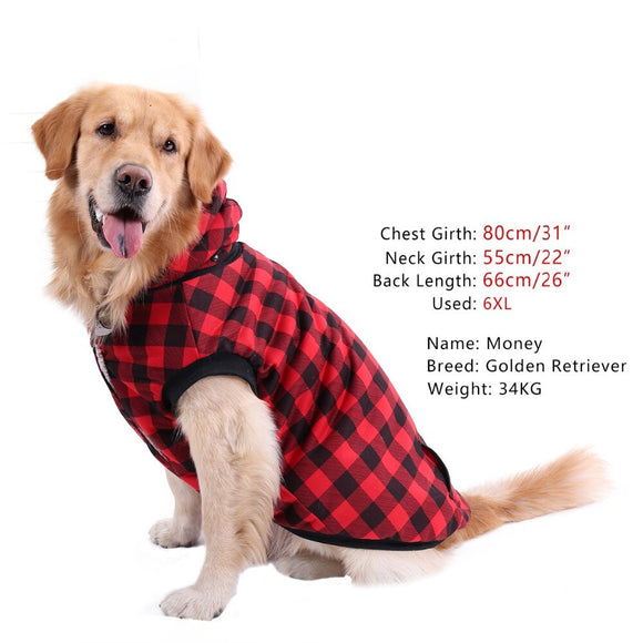 Dog Winter Clothes Fashion Grid Pattern Warm Soft Thick Dog Cat Outfit Jacket Fall Winter Hoodie Coat For Dogs Pet Apparel