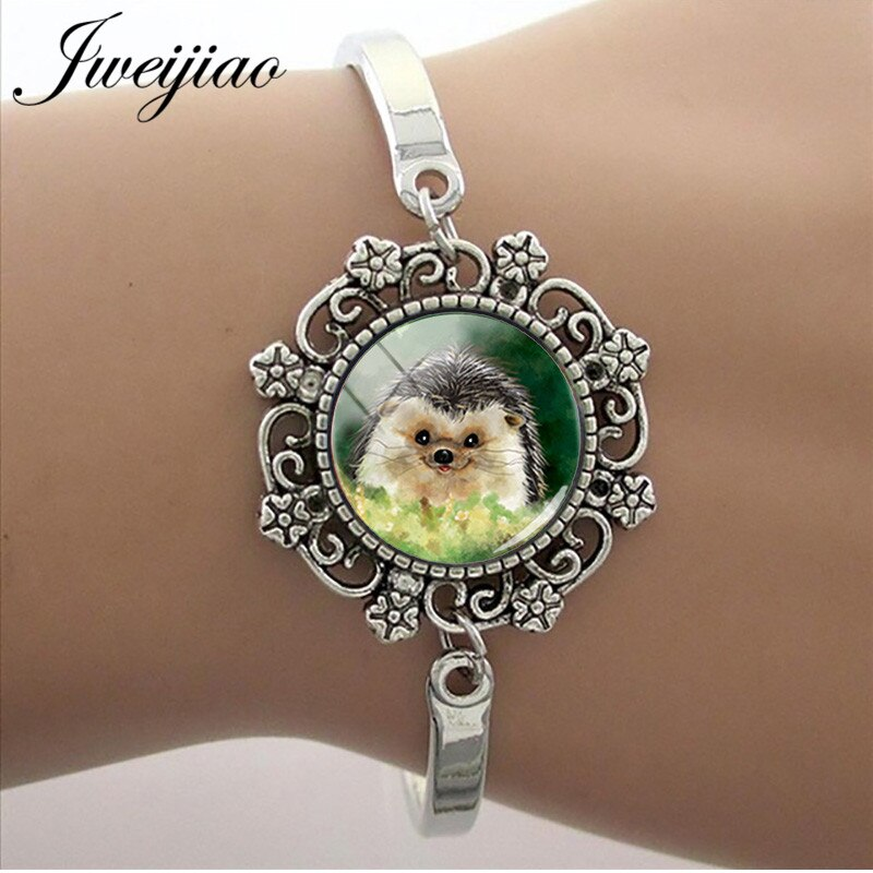 JWEIJIAO 15mm Glass Cabochon lace Charm Bracelets Cartoon Anime Hedgehog In The Fog Bracelet For Kids Girls Jewelry Gift H227