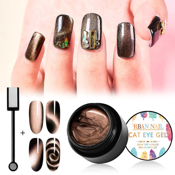 RBAN NAIL 5D Cat Eyes Magnetic Nail Polish 5ml Magnetic Soak Off UV Gel Lacquers Starry Sky Jade Effect Varnish Black Base Need