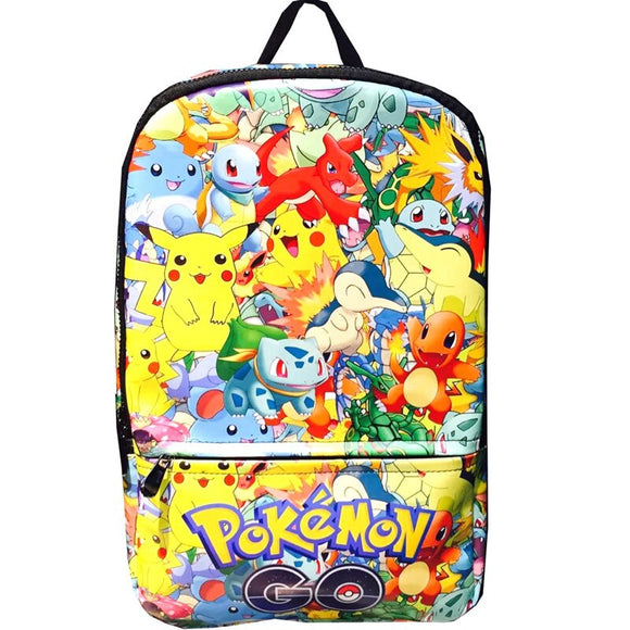 Cartoon Pokemon Backpack for Kids Students School Bag Anime Pocket Monster Pikachu Leather Bags Creative Gift Backpacks