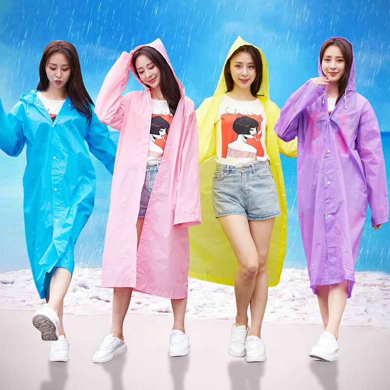 Rain coat and raincoat women Waterproof Hooded EVA Rain Poncho in Outside Hiking Rainwear Uniform code women RainCoat