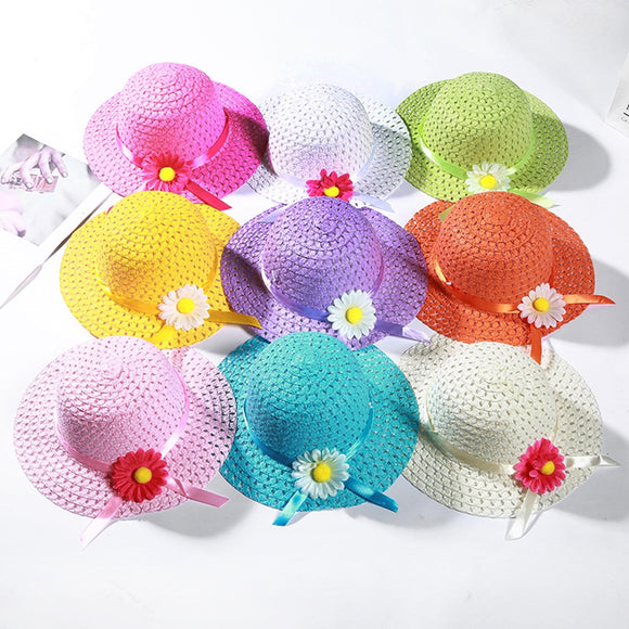 2019 New Fashion Children's Sun Flower Straw Hat Kids Baby Photography Outdoor Sunscreen Visor Cap Girl Boys Beach Hats