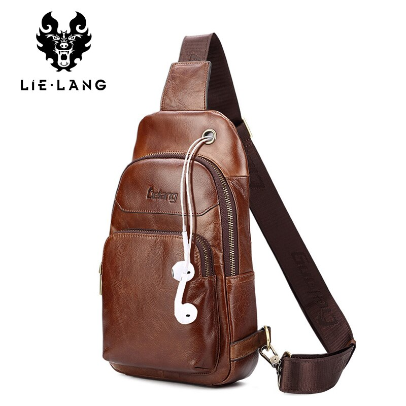 LIELANG chest Bag Genuine Leather Men Shoulder Bag Casual Brown Cowhide Leather Men's Crossbody Bags USB Charging Chest Pack