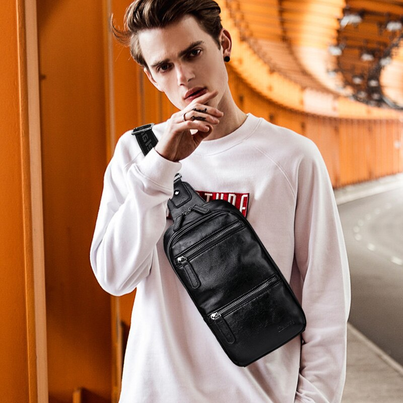 LIELANG Chest bag leather men brand bag casual multi-function 2020 new fashion men bag shoulder messenger men chest bag leather