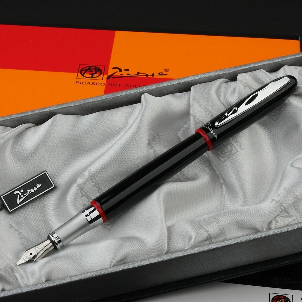 Picasso 907 black and silver iridium 0.5mm point pen ink Fountain Pen Montmartre Red Ring B Nib Fountain Pens High Quality