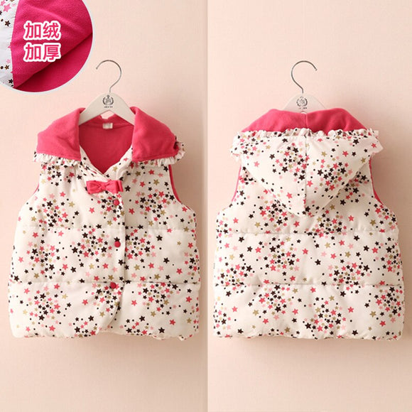 Girls Outwear&Coats 2018 Winter Warm New Fashion 2-6 7 8 9 10 Years Bow Star Candy Color Hat Sweet Kids Baby Girl Hooded Vest