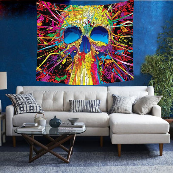 India Mandala Tapestry Wall Hanging Skull Tapestry Beach Bedspreads Skull Blanket Towel Hippie Tapestry Psychedelic Wall Cloth