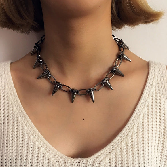 New Rivets CBB Material Chokers Punk Goth Choker Necklace Black Spike Rivet Necklace Rock Gothic Chocker Statement Jewelry Gifts