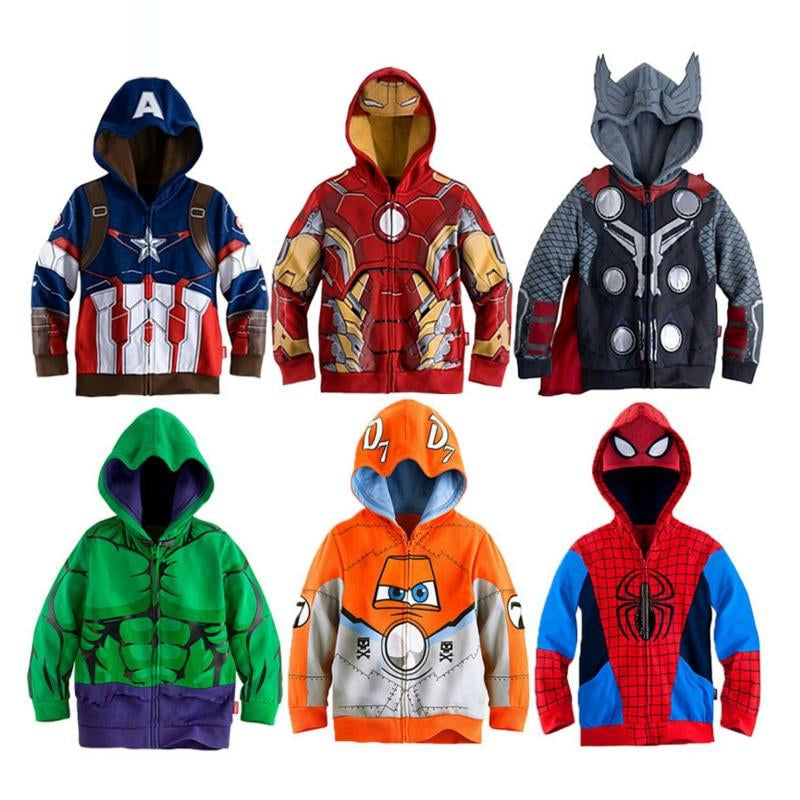 Boys Hoodies Coats Avengers Marvel Superhero Iron Man Thor Hulk Captain America Spiderman Sweatshirt for Boys Autumn Kid Jacket
