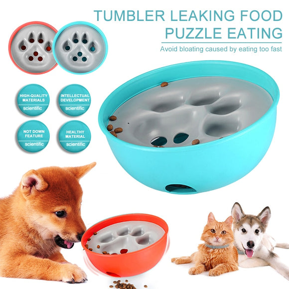 2019 New Pet Dog Bowl Tumbler Slow Feeder Anti Leakage Food IQ Treat Ball Dog Toys for Pet Cat Food Water Feeding Dish Feeder