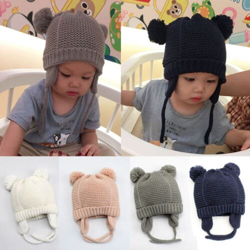 Pudcoco Toddler Kids Girl&Boy Baby Infant Hat Winter Warm Cute Crochet Knit Hat Beanie Cap