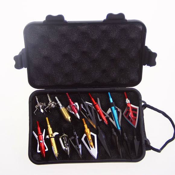 Archery Arrow Heads Case Plastic Tool Box Storage Arrowhead with Hand Strap for Carrying Hunting Archery Broadhead