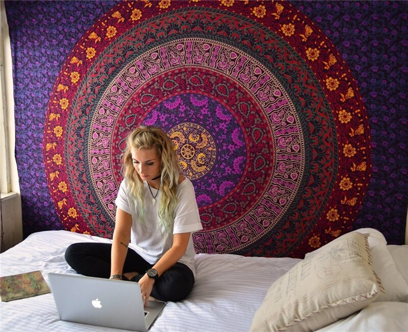 180x150cm Colors Mandala Indian Hippie Boho Tapestry Beach Picnic Throw Towel Mat Blanket Urban Outfitters