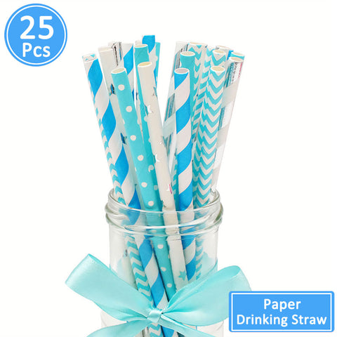 Blue Pink Baby Shower Paper Drinking Straws //Gender Reveal Party Decoration