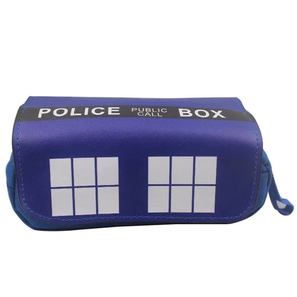 Anime Doctor Who Police Box Purse Men Women PU Leather Pen Pencil Holder Bag Pouch Students Stationery Cosmetic Bags with Handle