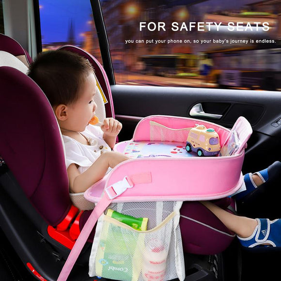 OLOEY Baby Car Tray Plates Portable Waterproof  Dining Drink Table for Kids Car Seat Child Cartoon Toy Holder Storage Baby Fence