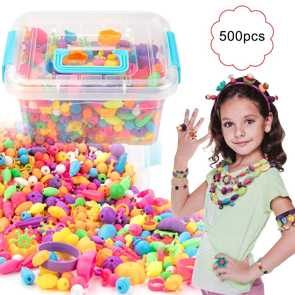 500Pcs Pop Snap Beads Kit  Reusable DIY Necklace Bracelet Ring Toddler Kids Toy  Making Necklace Bracelet and Ring Gift For girl