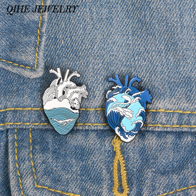 QIHE JEWELRY Ocean Wave and Whale Pin Blue Human Heart Lapel pins Anatomical Heart Enamel pin Heart Anatomy Badges