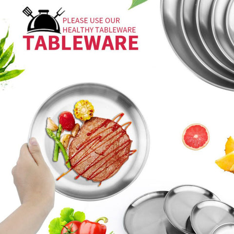 Camping Round 14-26cm Dia Stainless Steel Tableware Dinner Plate Food Containe`