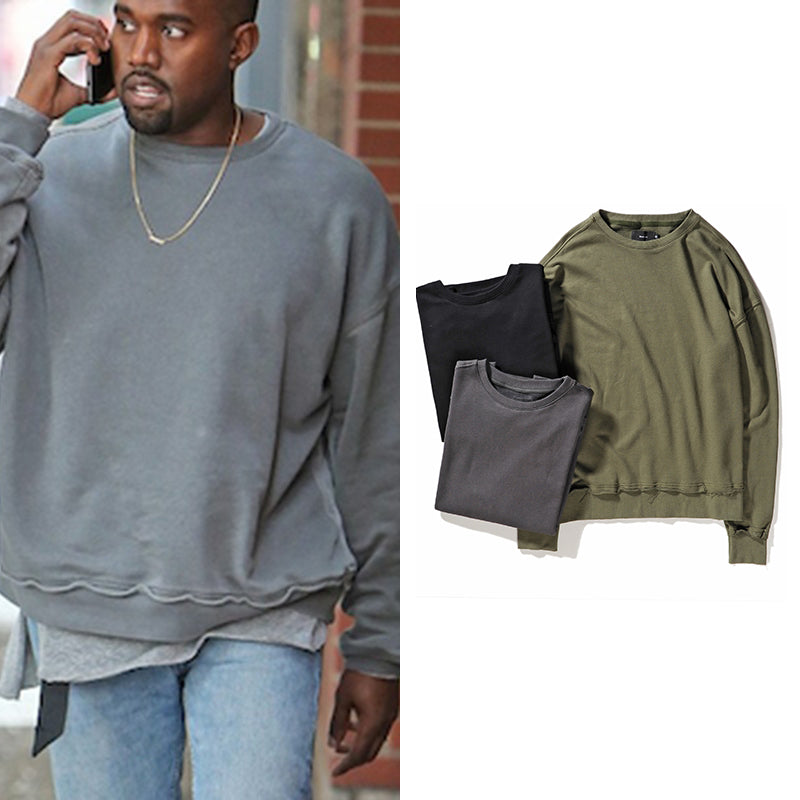 Streetwear Vintage Oversize Sweatshirt Kanye West Washed Distressed Hoodies and Sweatshirts Mens Hiphop Urban Clothing