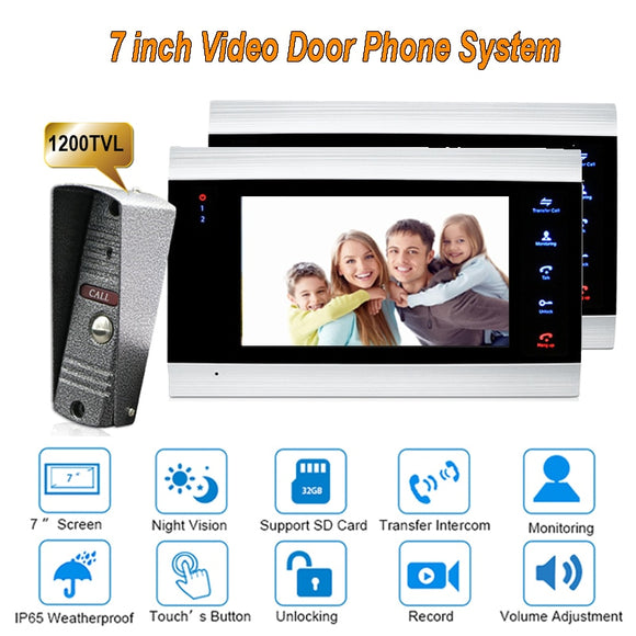 New 4 wire video door phone kit With 1 Camera and 2 monitors 7 inch 1200TVL Doorbell Intercom system IP65 Camera DoorPhone