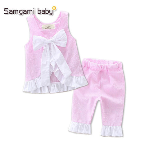 Samgami Baby Baby Girls Pink Hoodies Top Long Pants Spring and Autumn Motion Outfit Daily Set