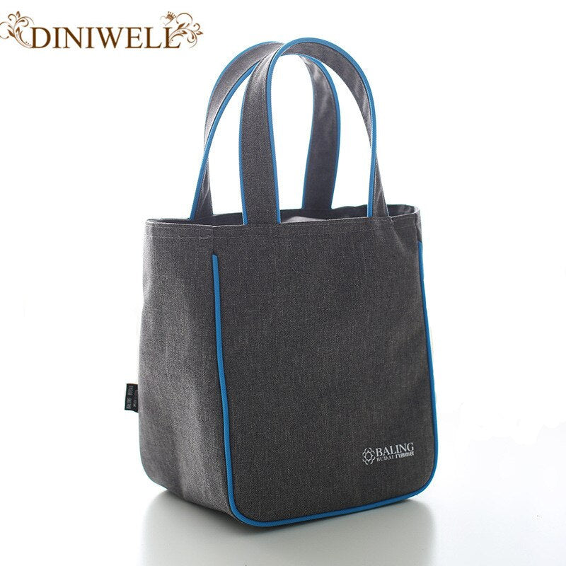 DINIWELL Brand  Denim Lunch Bag Casual Thermal Bag For Women Kids Or Men insulated Lunch Box Picnic Bag Food Thermo Or Cooler