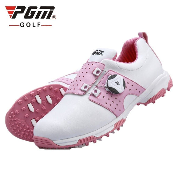 Pgm Golf Shoes Women Sports Shoes Waterproof Sports Shoes Knobs Buckle Shoelace Anti-Slip Woman Training Sneakers D0475