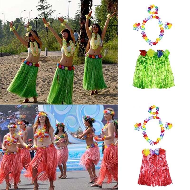 Show School Performance Plastic Fibers Girls Woman  Hula Skirt Grass Costume Flower Skirt Hula Dance Dress Party Hawaii Beach